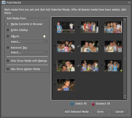 The Add Media dialog box offers a number of options for exporting photos.