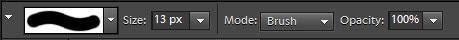 Eraser tool settings on the Options bar.