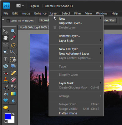 The Layer menu in Photoshop Elements.