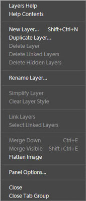 The Layers panel menu in Photoshop Elements.