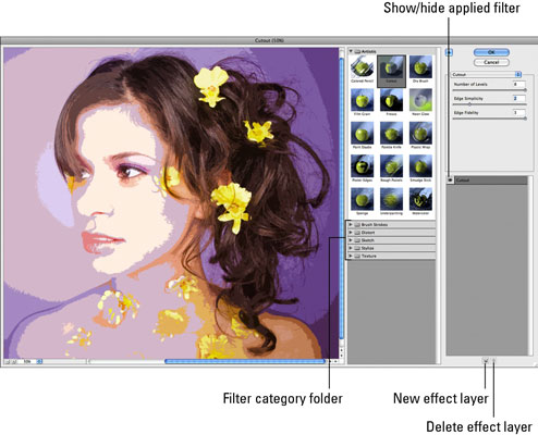 Apply and edit multiple filters in the Filter Gallery. [Credit: istockphoto.com]