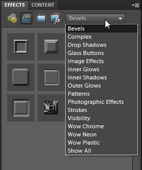 Photoshop Elements provides many style libraries for Layer Styles.
