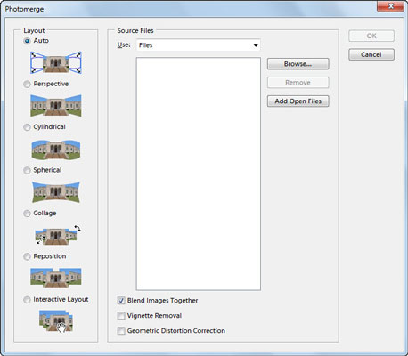 The initial Photomerge dialog box.