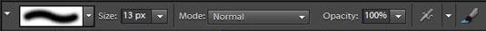 Brush tool settings on the Options bar.