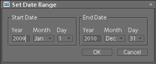 Open the Set Date Range dialog box and specify the start and end dates.