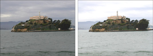 The Brightness/Contrast adjustment is best reserved for correcting selected areas (left) rather tha