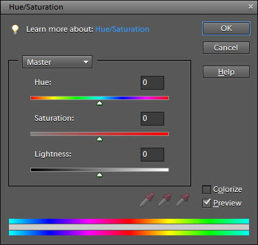 Adjust hue and saturation in the Hue/Saturation dialog box.