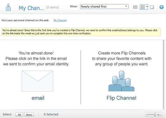 ScreenShot of Flip Channel's request to confirm an user's email address.