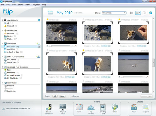 Main window of the FlipShare program. Users can see all the clips recorded in the camera.