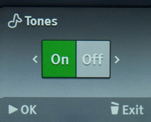 Press the Left or Right button to choose whether the tones will be on or off.