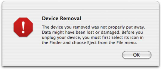 Device removal warning that may appearwhen a Mac goes into sleep mode while a Flip camera is still plugged in.