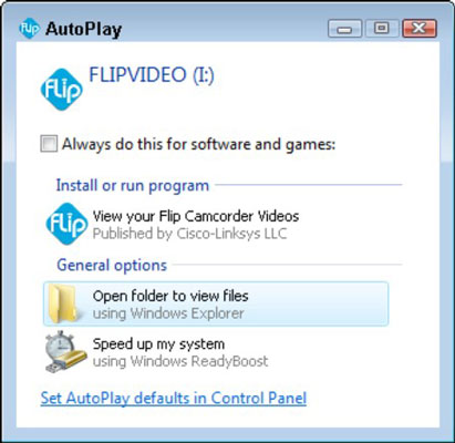 Windows AutoPlay dialog that appears when users plug their Flip camcorder into the computer.
