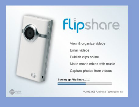 FlipShare slpash screen that appears during the installation process.