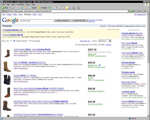 A typical Google Product Search results page.