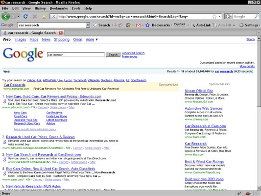 A Google search results page showing customized results.