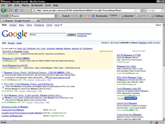 A screenshot of Google ads.