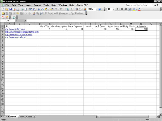Using a spreadsheet makes gathering competitor data easier.