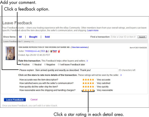 For Seniors How To Leave Ebay Feedback And The Detailed Seller Ratings Dsrs Dummies