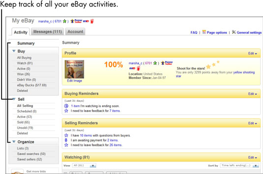 For Seniors How To Personalize The My Ebay Page Dummies