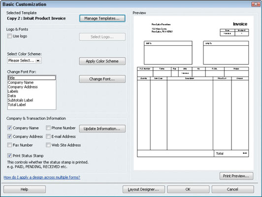 How To Customize An Invoice Form In QuickBooks Dummies - What does a quickbooks invoice look like