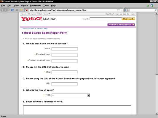 Yahoo!'s spam report form