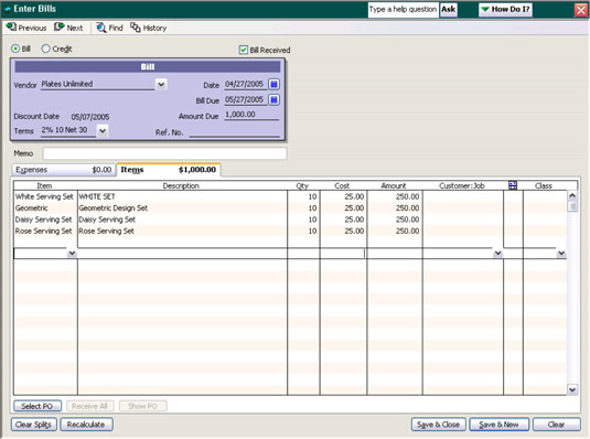 Recording of the receipt of inventory with a bill using QuickBooks.