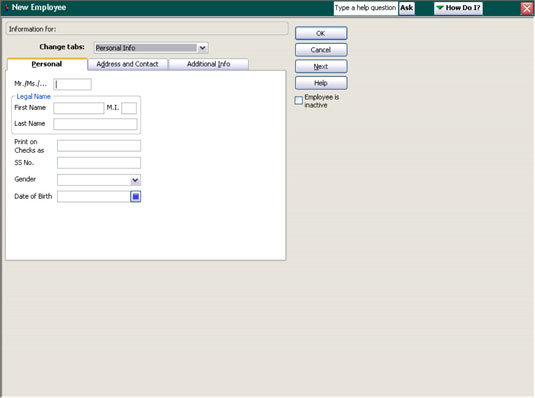 New employee personal and contact information can be added in QuickBooks to make it easier to keep