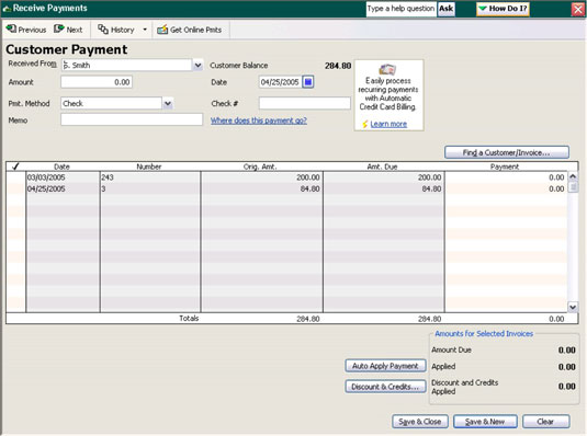 In QuickBooks, recording payments from customers who bought on store credit starts with the custome