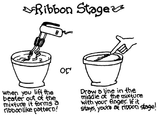 Determining the ribbon stage for your Madeleine cookies.