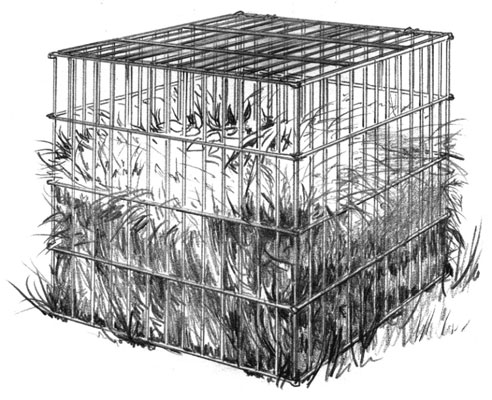 A wire compost bin with collapsible sides is easy to move around.