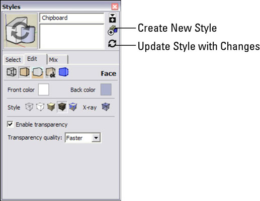 How to save and share new styles in google sketchup 8 dummies create new style clicking this button creates a new style with the settings you currently have active when you create a new style it shows in your in altavistaventures Image collections