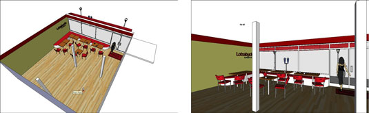 Renders of a model created with Google SketchUp.