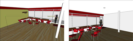Different views of a Google SketchUp model using the Walk tool.