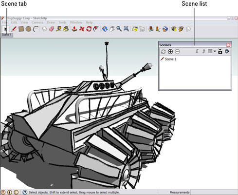 Screenshot of Google SketchUp with a scene tab and a Scene Dialog Box that shows all the scenes that have been created so far.