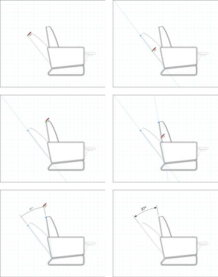 Visual instructions that show you how to add an angular dimension to your model. In this case to show how far back a chair reclines.