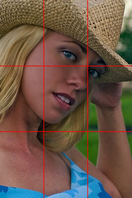 Composing an image according to the Rule of Thirds — the girl's eye is positioned on a