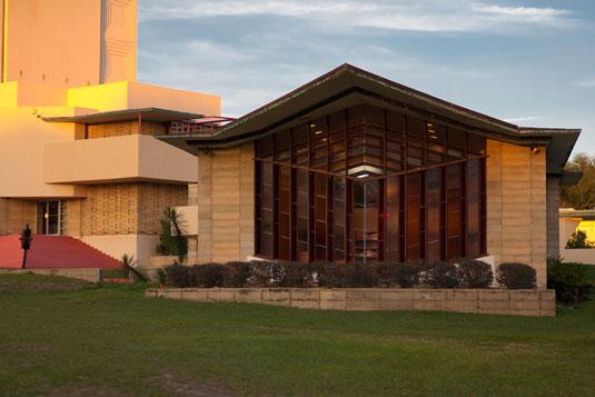 The William Danforth Chapel designed by Frank Lloyd Wright.