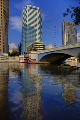 The bridge and reflections lead your eye to the Bank of America building in Tampa, Florida.