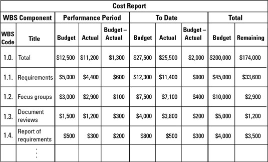 Use a cost report to track expenditures.