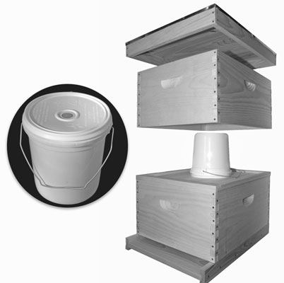 Here's a pail feeder placed over the oval hole of the inner cover. By covering the feeder wit