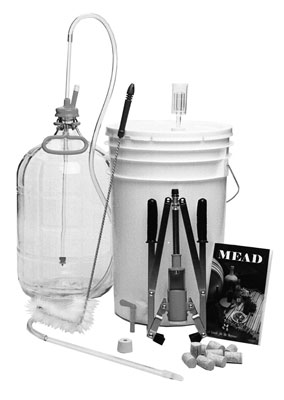 Here's a typical kit for brewing mead (honey wine).
