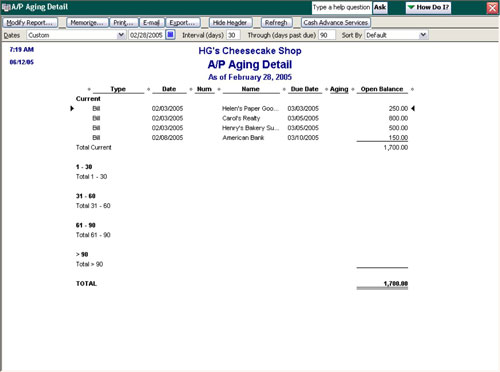 The Accounts Payable Detail report provides a listing of all outstanding bills, the dates the bills
