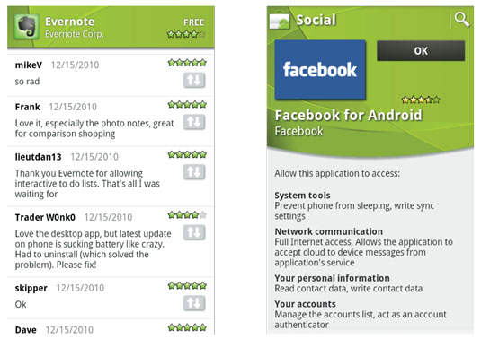 The user comments page for the Evernote app (left); the parts of your device that the Facebook app