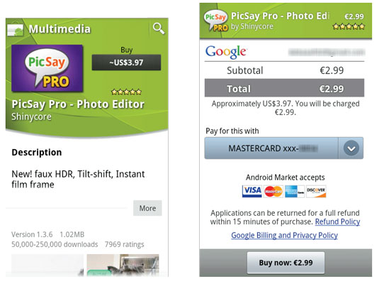 The estimated price for the PicSay Pro app listed in U.S. dollars (left); app prices show in their