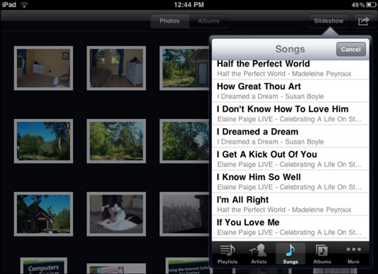 how to make a slideshow with music on ipad