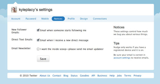 Settings page on Twitter.
