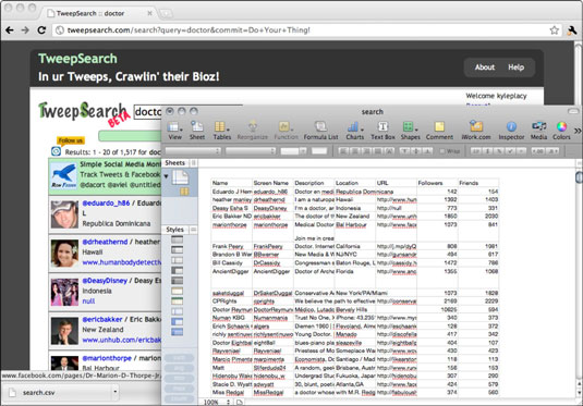 TweepSearch lets you easily find people and export the information to a .csv file.