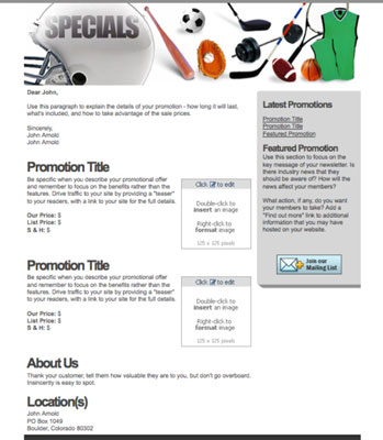 Use a promotional e-mail template for special offers, product descriptions, and testimonials. [Cred
