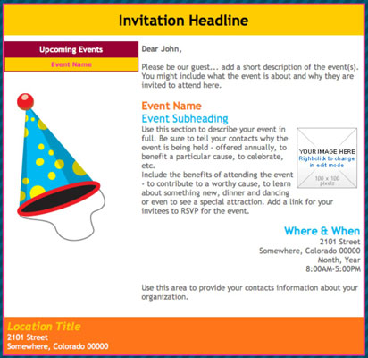 Use design elements in an event invitation to reinforce the event and increase attendance. [Credit:
