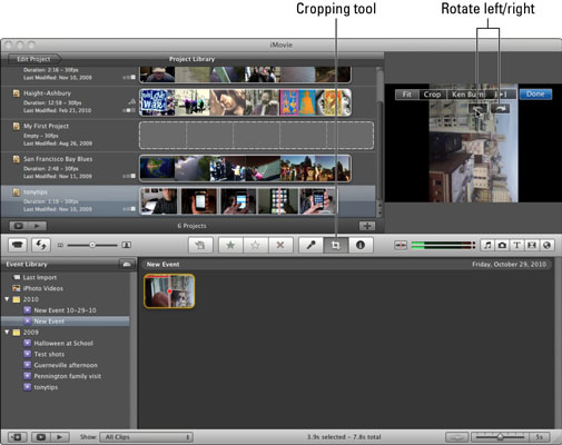 Open the cropping view to crop or rotate the image in a clip, or both.